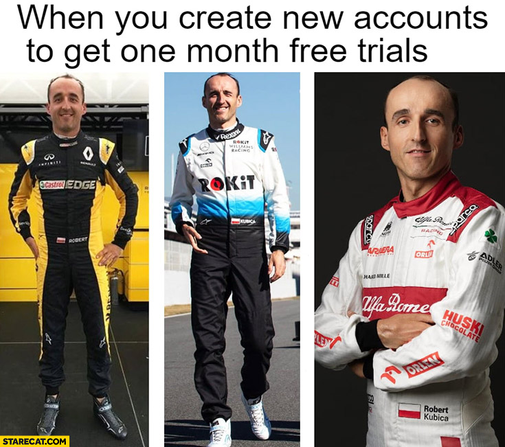 Kubica when you create new accounts to get one month free trials