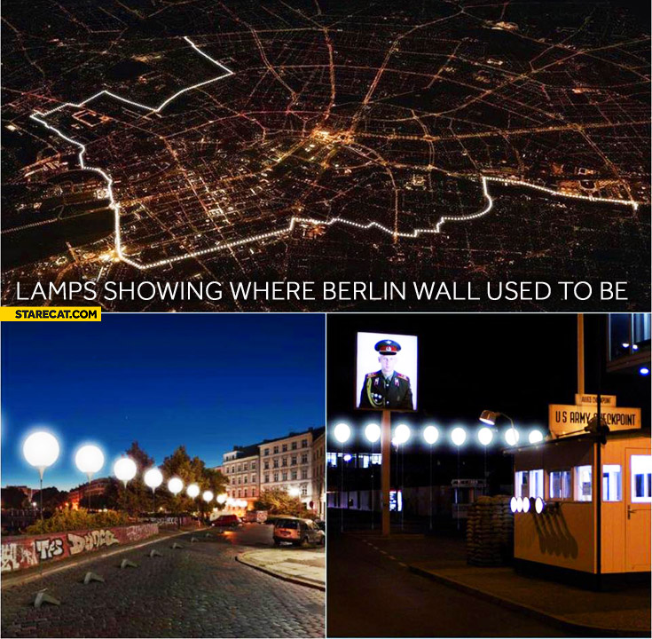 Lamps showing where Berlin wall used to be