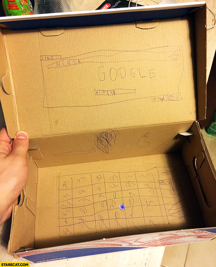 Laptop netbook computer Google made of cardboard box