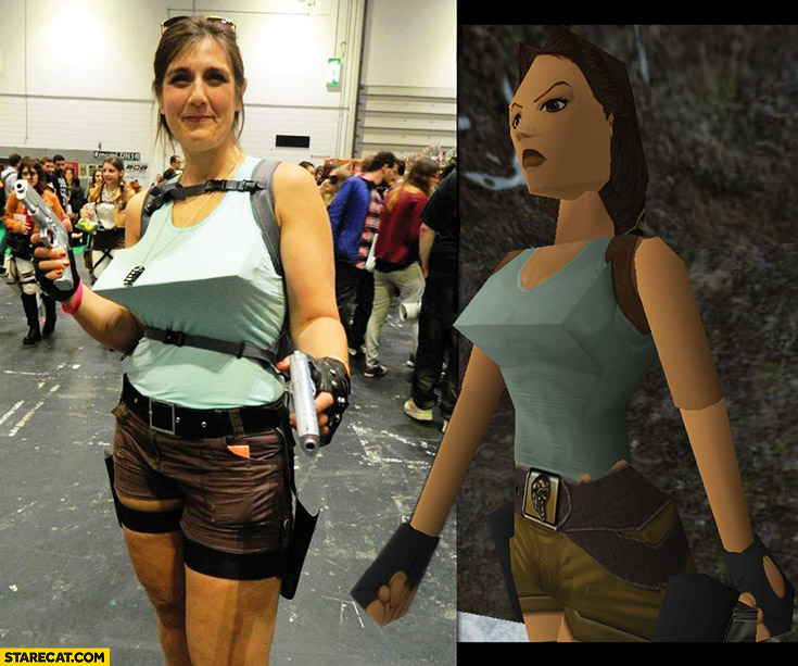 Lara Croft Tomb Raider 1 cosplay edgy