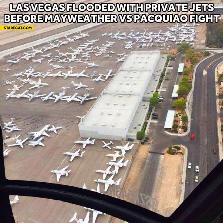 Las Vegas airport flooded with private jets before Mayweather vs Pacquiao