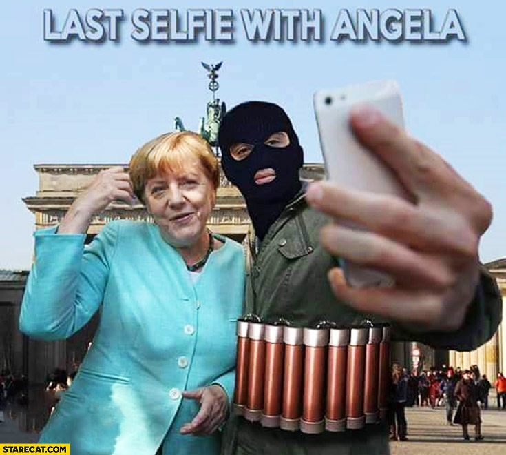 Last selfie with Angela Merkel terrorist suicide bomber
