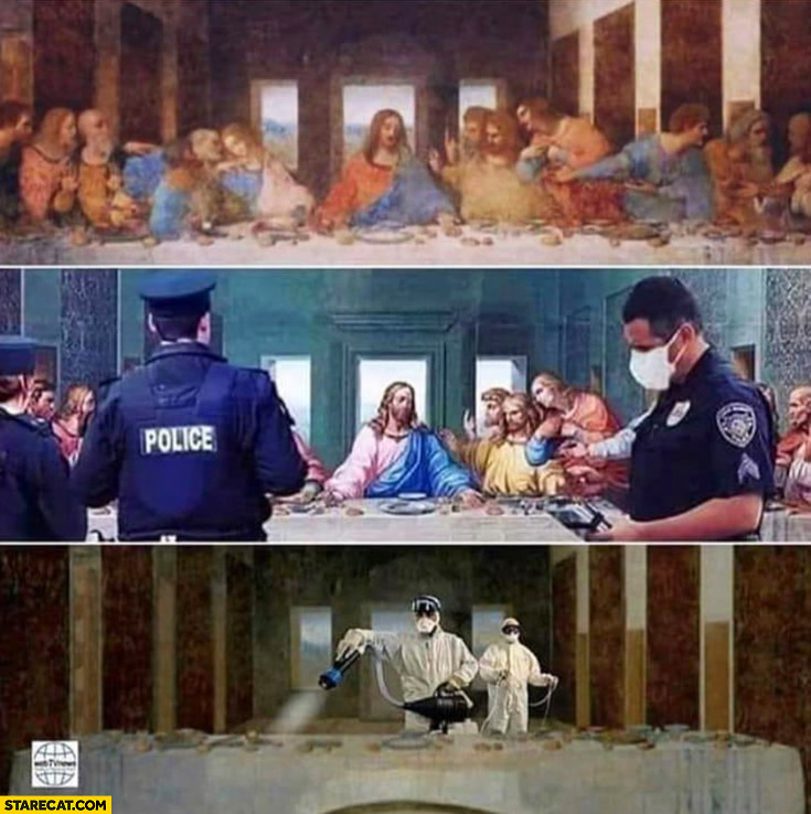 Last supper coronavirus outbreak police cancells and disinfects