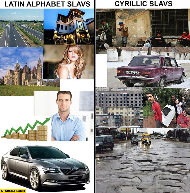 Latin alphabet slavs vs cyrillic slavs comparison