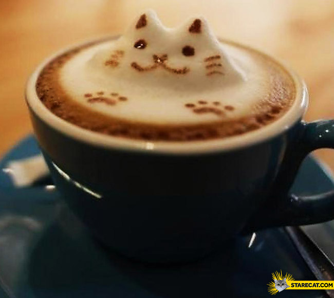 Latte coffee with cat's face