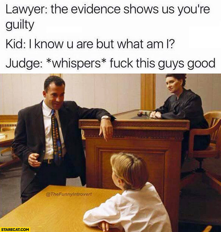 Lawyer: the evidence shows us you're guilty. Kid: I know you are but what am I? Judge *whispers*: this guys good