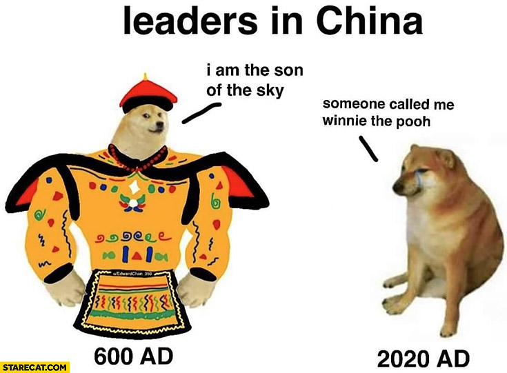 Leaders in China in the past: I am the son of the sky, 2020 someone called me Winnie the Pooh
