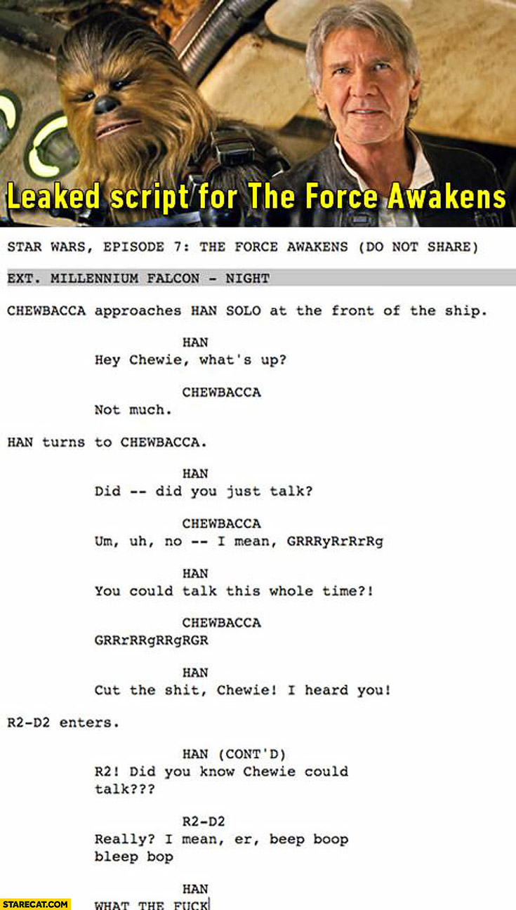 Leaked stript for the Force Awakens Chewbacca speaking human voice