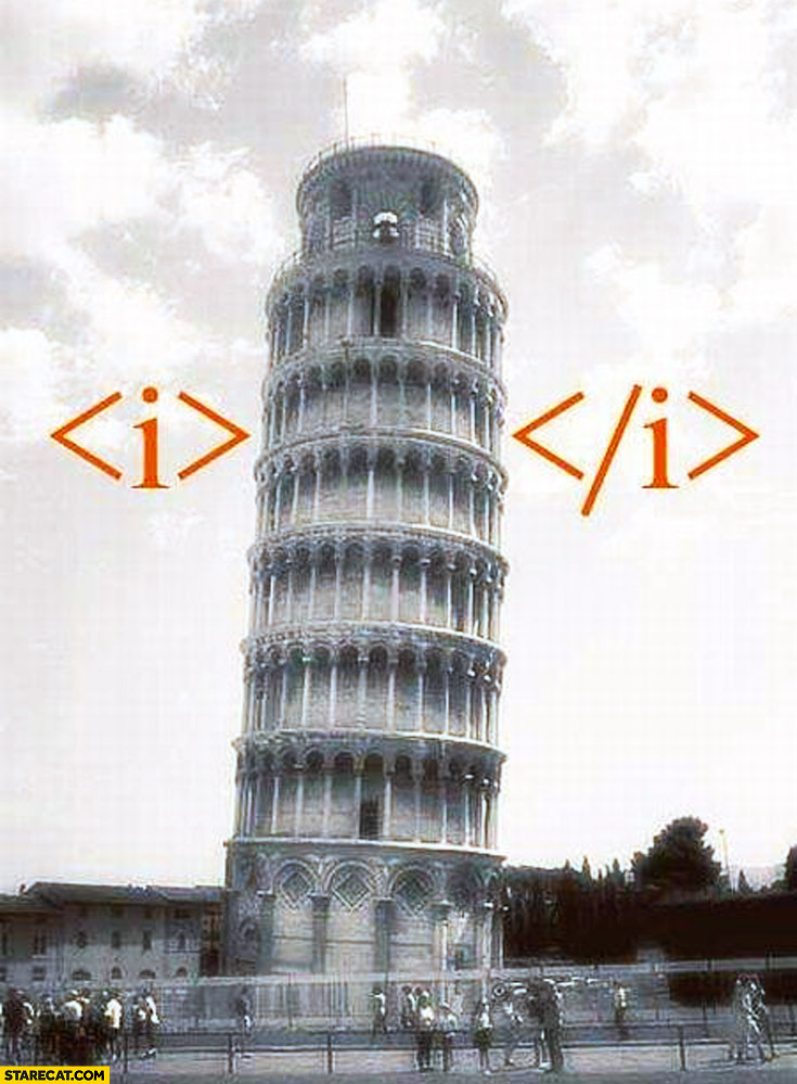 Leaning tower of Pisa italics html