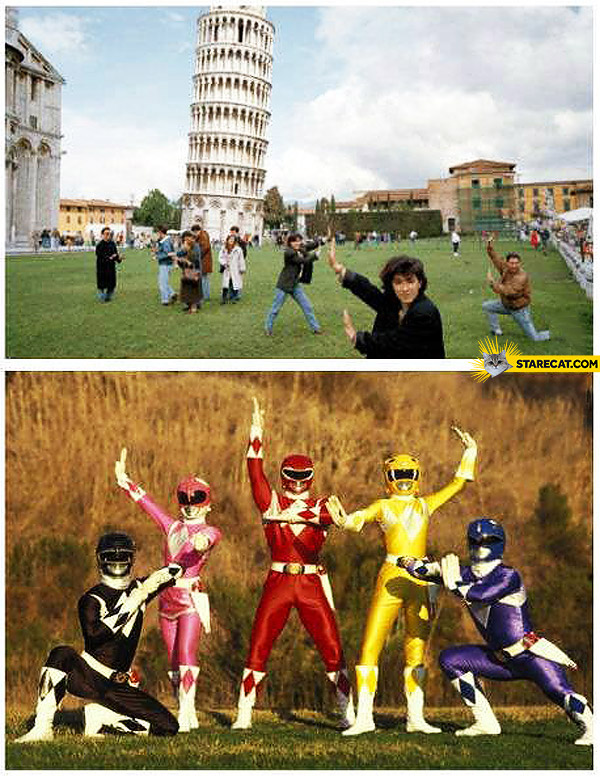 Leaning tower of Pisa Power Rangers