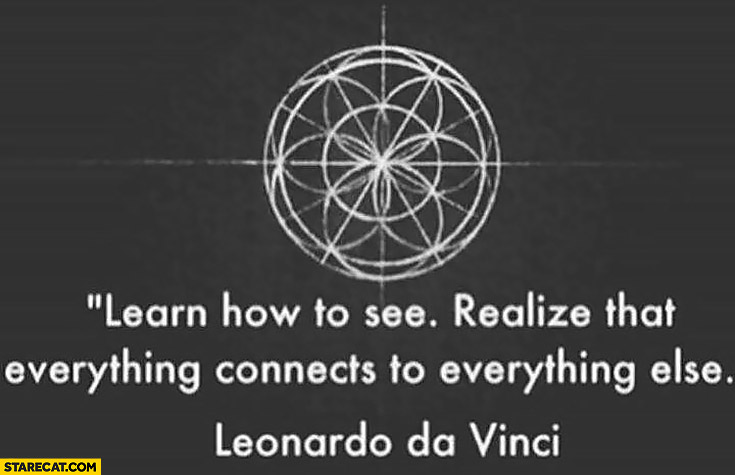 Learn how to see. Realize that everything connects to everything else. Leonardo da Vinci quote