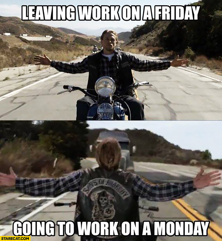 Leaving work on a Friday vs going to work on a Monday comparison Harley TIR ahead