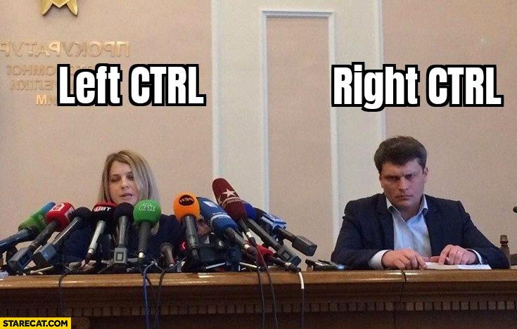 Left ctrl popular vs right ctrl not used
