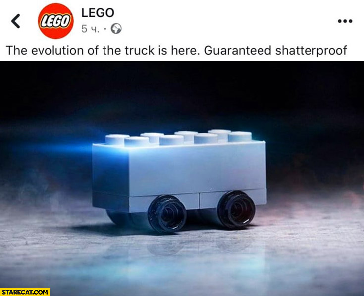 Lego Tesla Cybertruck single brick social media post