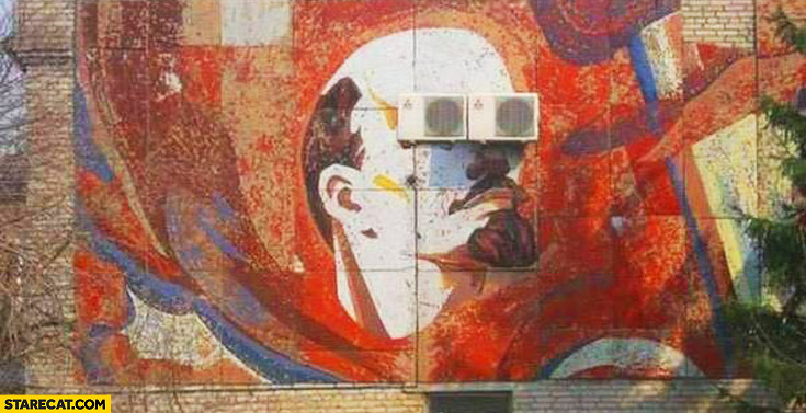 Lenin graffiti painting glasses made of air conditioners