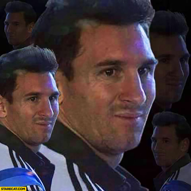 Leo Messi weird face collage meme