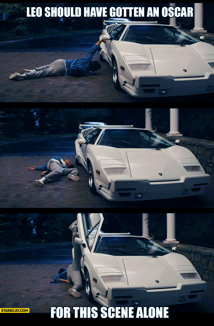 Leo should have gotten an Oscar for this scene alone opening Lamborghini Countach door