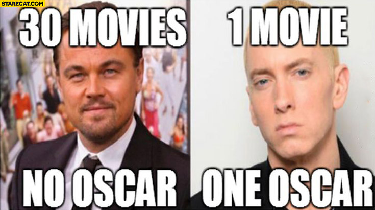 Leonardo DiCaprio 30 movies no oscar, Eminem 1 movie 1 oscar