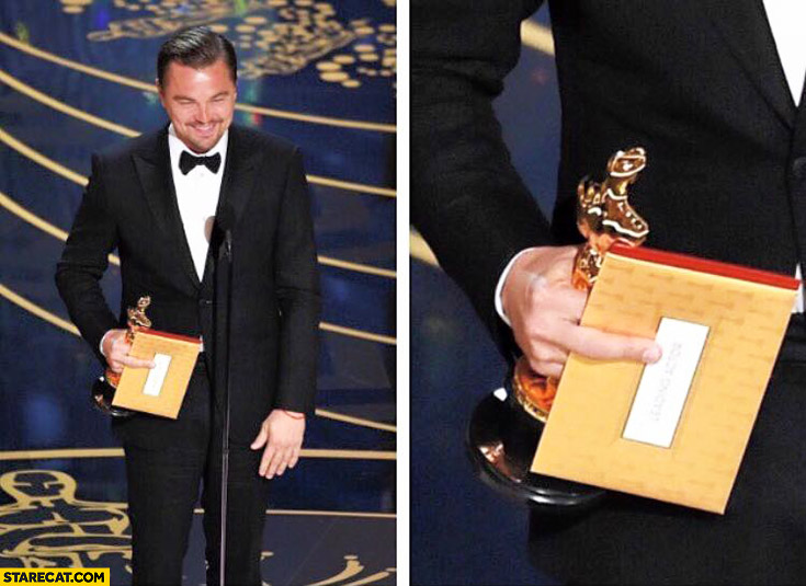 Leonardo DiCaprio Oscar ceremony middle finger on an envelope trolling