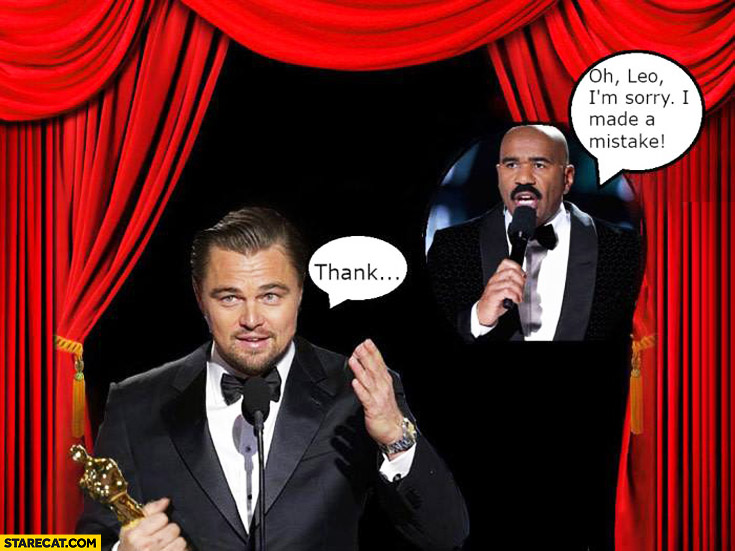 Leonardo DiCaprio Oscar sorry Leo I made a mistake Steve Harvey