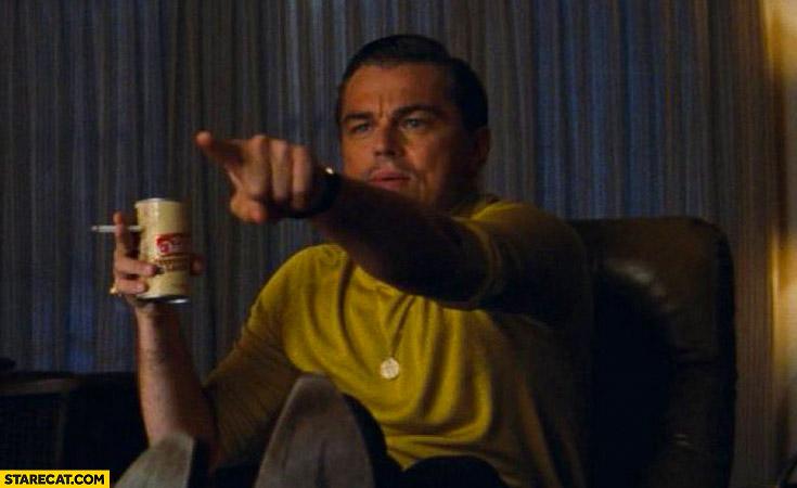 Leonardo DiCaprio pointing Rick Dalton meme