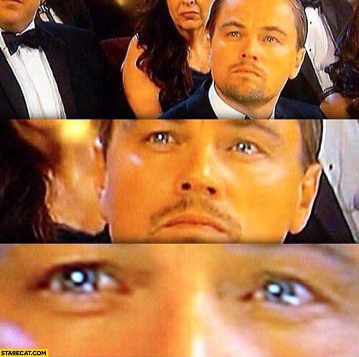 Leonardo DiCaprio sad crying eyes at the Oscars ceremony close up