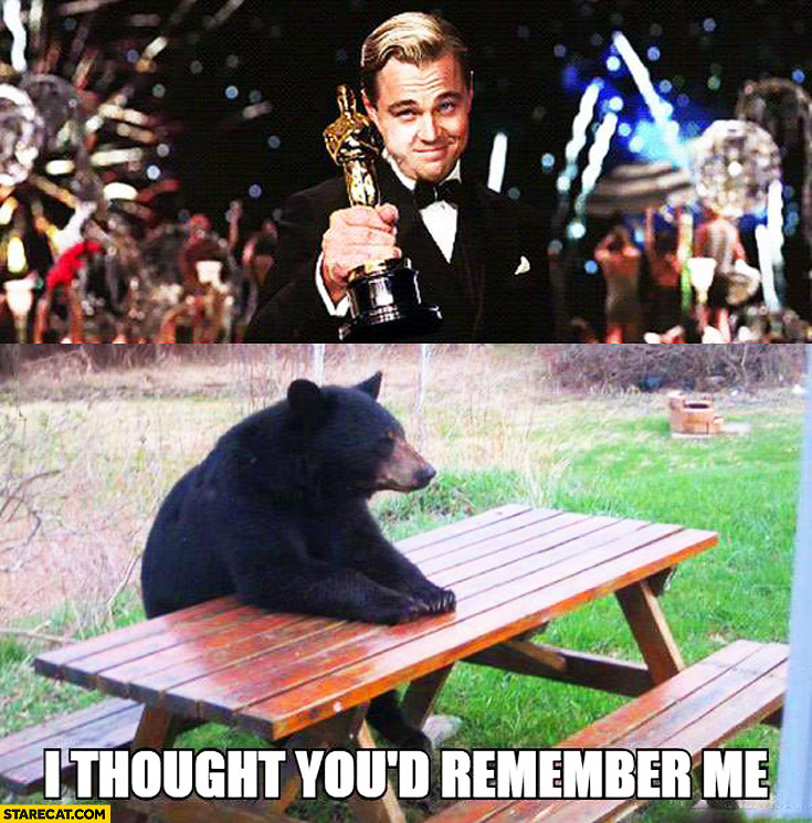 "Leonardo DiCaprio winning Oscar, sad bear: ""I thought youd remember me"" Revenant"