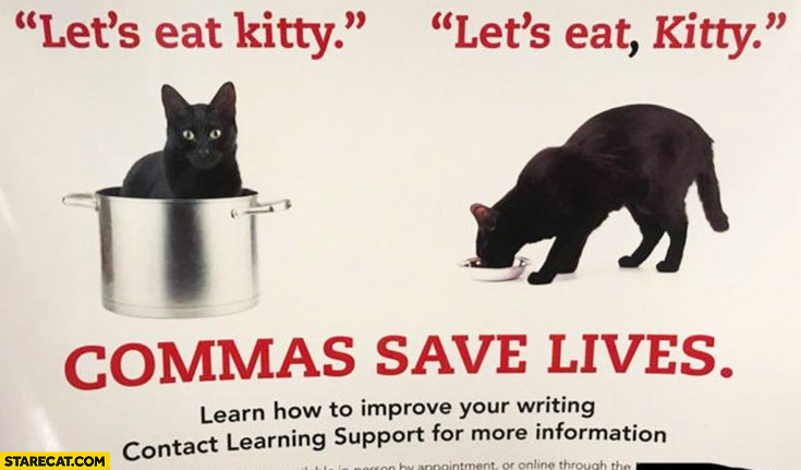 Let's eat kitty vs let's eat, kitty. Commas save lives creative AD