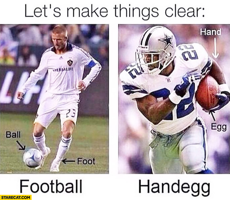 Let's make things clear football handegg sports comparison