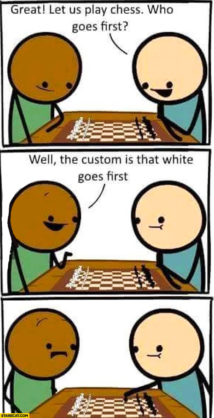 Let's play chess, who goes first? Well, the custom is that white goes first. Cyanide and happiness
