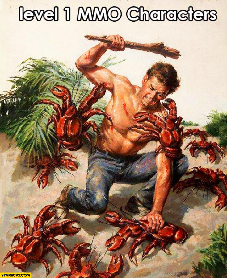 Level 1 MMO characters fighting with crabs