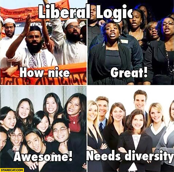 Liberal logic: only black, muslim, asian people in the picture – OK. Only white people – needs diversity
