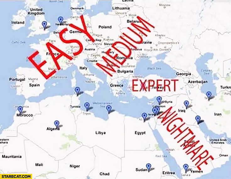 Life difficulty depending on where you live: easy, medium, expert, nightmare. Middle West Europe map
