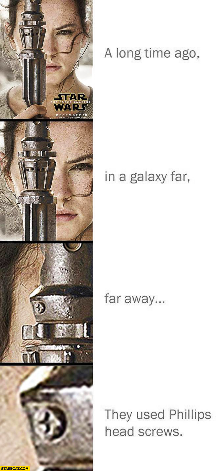 Lightsaber they used phillips head screws Star Wars poster fail