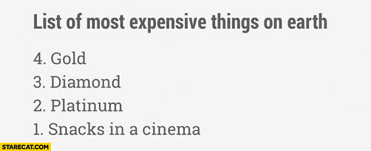 List of most expensive things on earth gold diamond platinium snack in a cinema