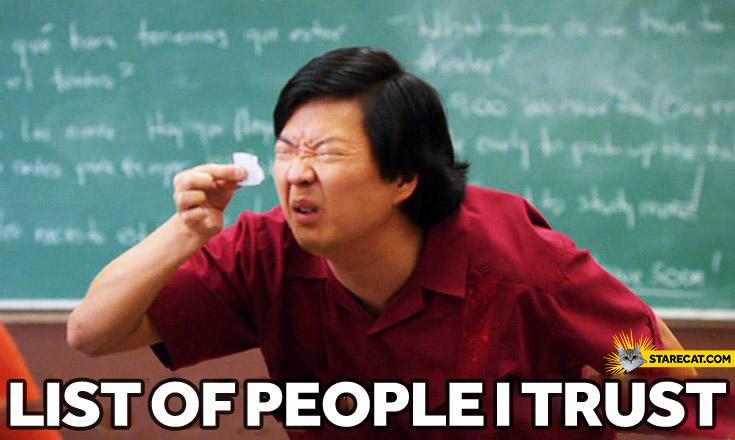 List of people I trust
