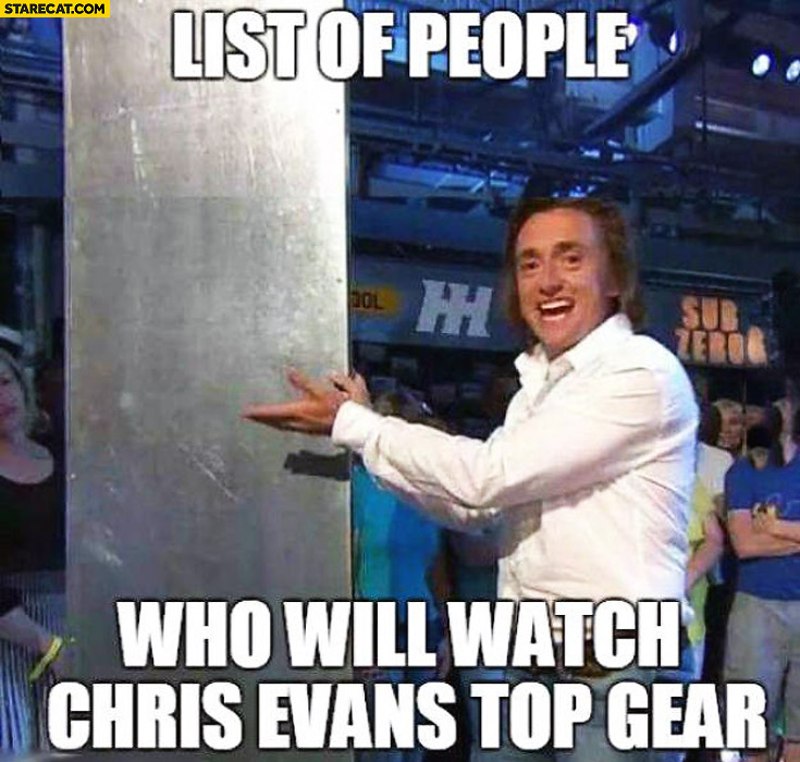 List of people who will watch Chris Evans Top Gear Hammond