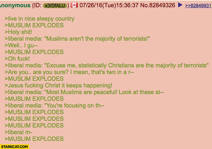 Live in nice sleepy country, *muslim explodes*, liberal media trying to explain fail 4chan