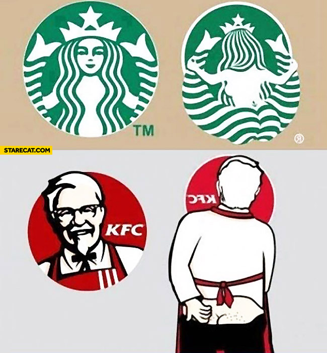 Logos from the other side Starbucks KFC