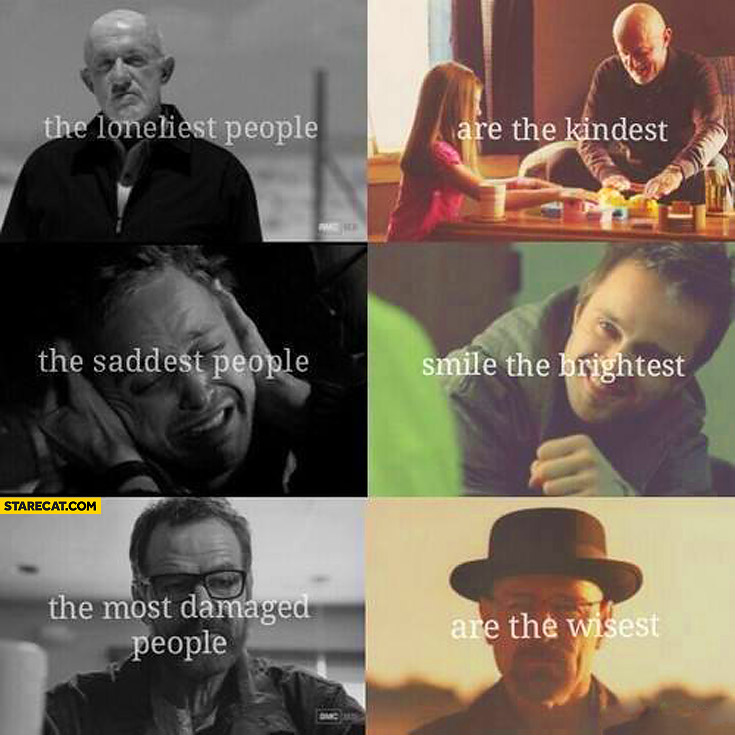 Loneliest people are kindest saddest people smile brightest most damaged are wisest