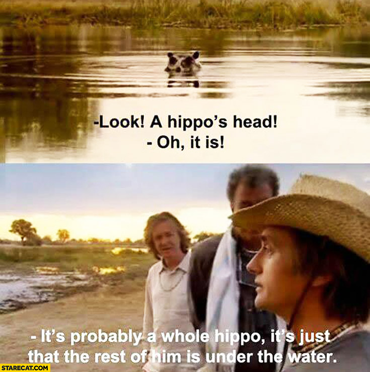 Look a hippo's head. Oh is it? It's probably a whole hippo it's just that the rest of him is under water Top Gear
