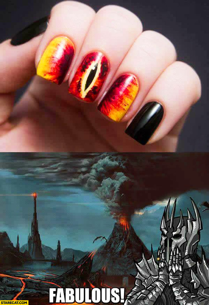Lord of the Rings Saruman\'s eye nails manicure fabulous | StareCat.com