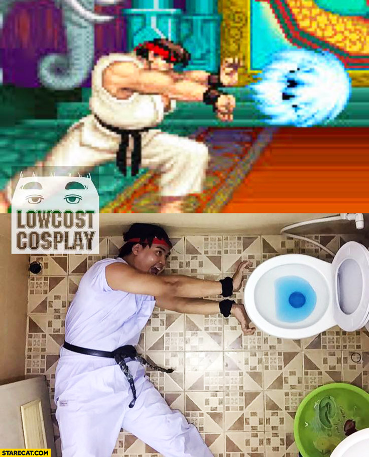 Lowcost cosplay Ryu Street Fighter hadouken toilet