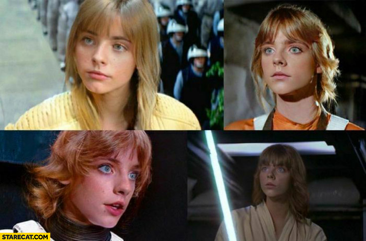 Luke Skywalker as a female character Star Wars photoshopped
