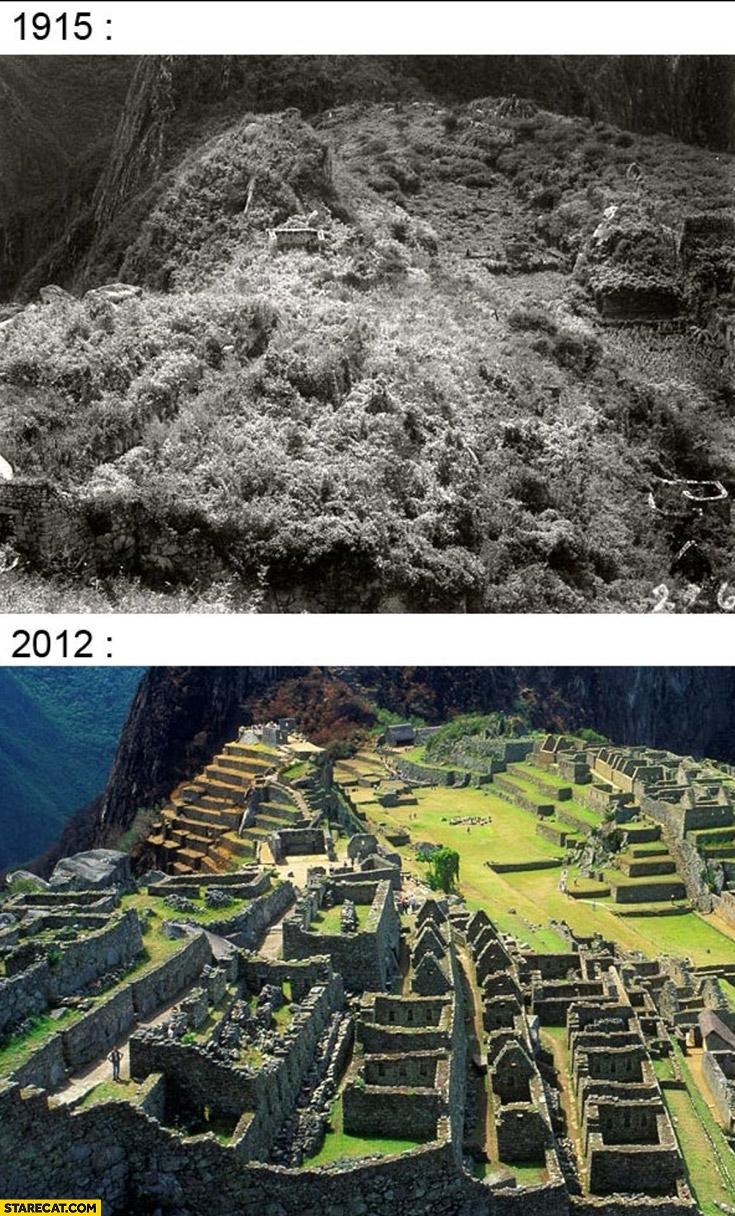 Machu Picchu 1915 vs 2012 comparison