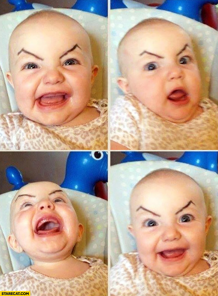 Mad baby with evil eyebrows