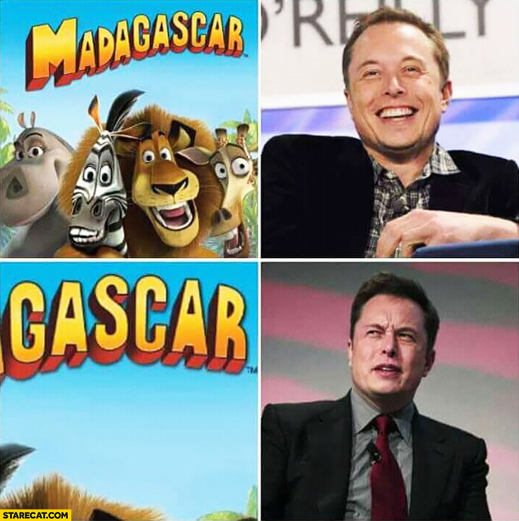 Madagascar Elon Musk happy, gas car Elon Musk confused