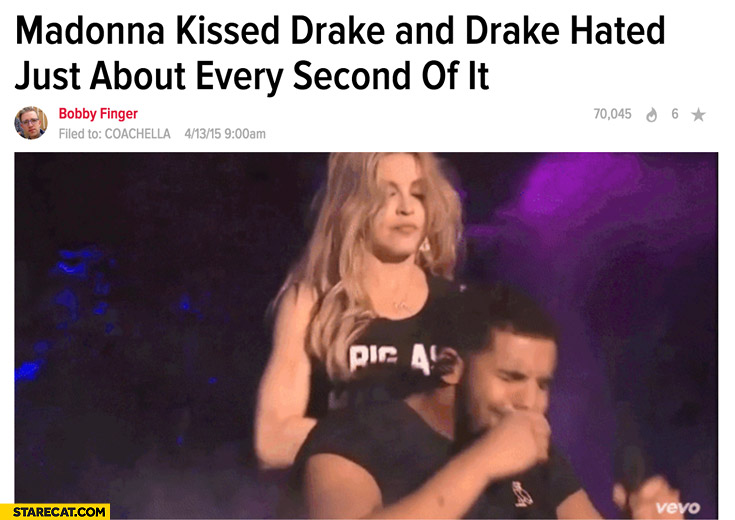 Madonna kissed Drake and he hated every second of it