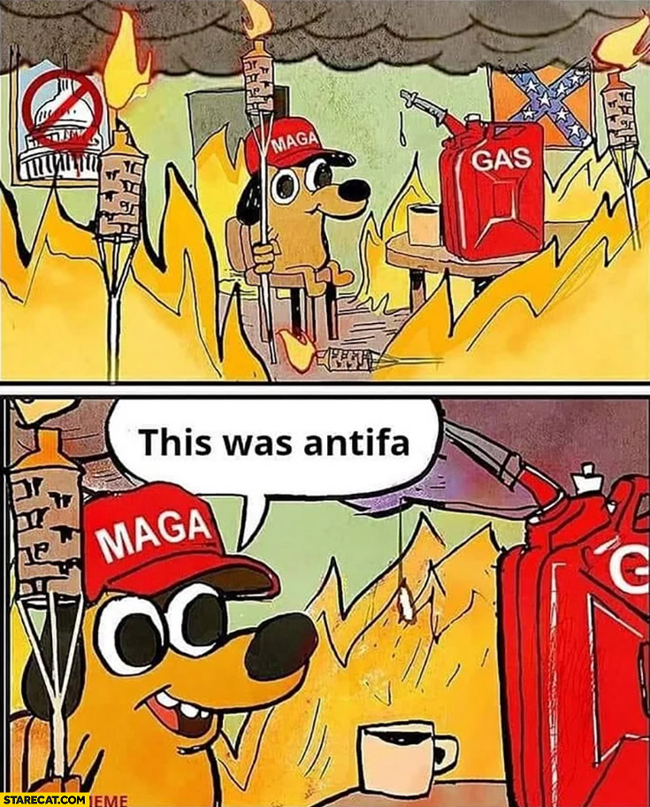 Maga Trump supporter everything on fire this was antifa