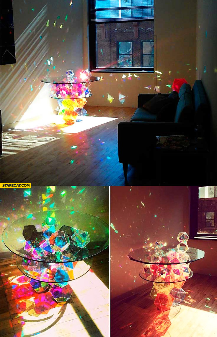 Magical colorful glass table